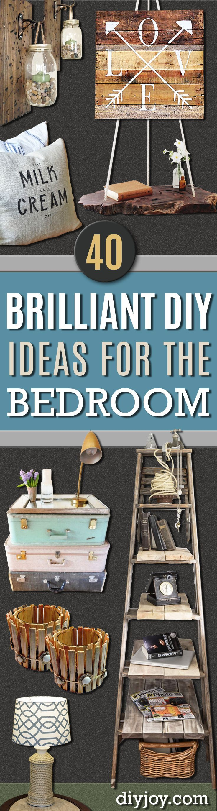 DIY Decor Ideas for The Bedroom - Rustic and Vintage Decorating Projects for Bedroom Furniture, Bedding, Wall Art, Farmhouse Style Headboards, Rugs, Tables and Accessories. Tutorials and Step By Step Instructions http:diyjoy.com/diy-decor-bedroom-ideas