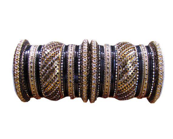 2.8 Black Indian Designer #Bollywood #Diamante #Bangles by Shoppingover