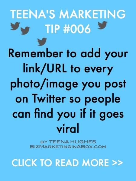 Marketing Tip 006 - Many people forget to put their link or URL on every photo or image they post online. This is a missed opportunity, as you never know where the image my end up -- and you want folks to come find you, don't you? Sure you do :-)