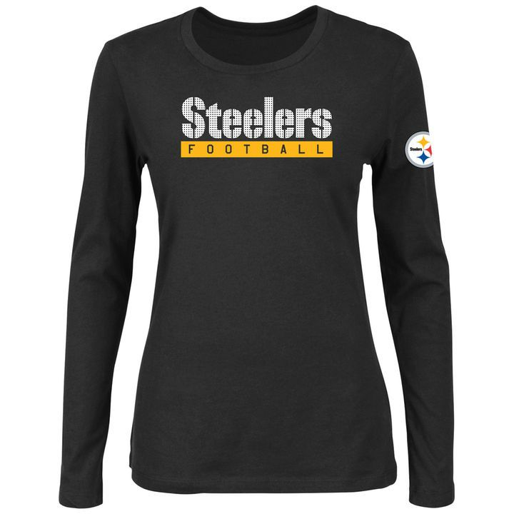 Pittsburgh Steelers Majestic Women's Never Let It Rest Long Sleeve T-Shirt - Black