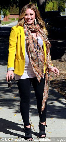 Hilary Duff pregnant. fashion style.. love the yellow coat
