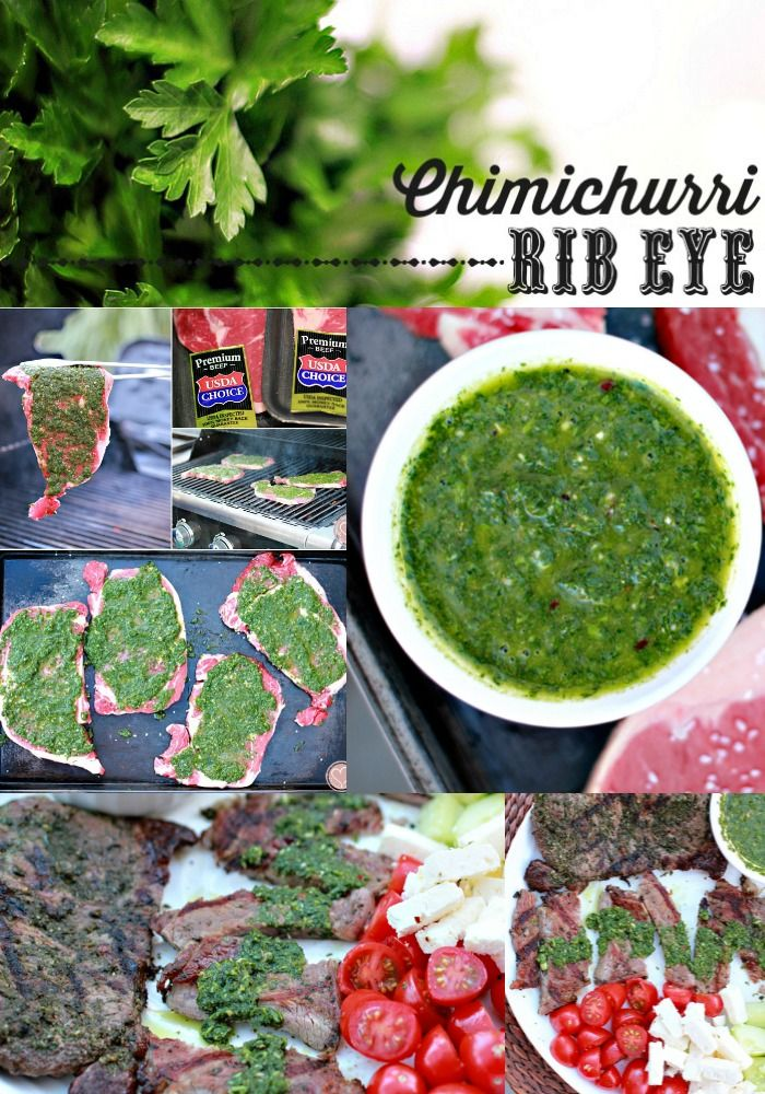 Traditional Argentinian Chimichurri Recipe as marinade and condiment on Rib Eye Steaks #wmtmoms