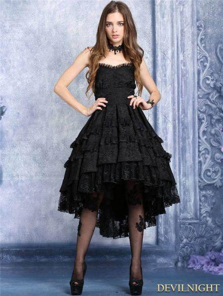 Black Gothic Noble Dovetail Dress - Devilnight.co.uk