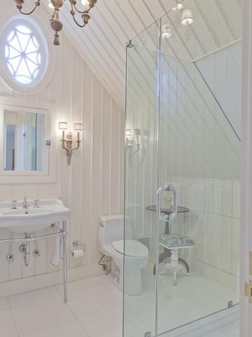 Ramble- attic guest bath, notice the angle of the shower.