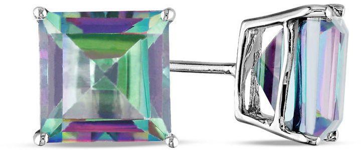 Zales Princess-Cut Rainbow Green Topaz Stud Earrings in 10K White Gold