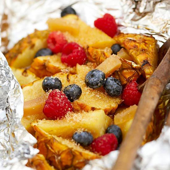 Grilled Pineapple Berry Hobo Pack (it cooks right in the foil pouch - great for camping)