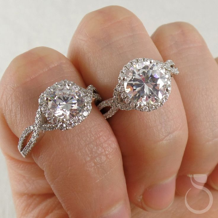 """""""I have enough jewelry..."""" said no one EVER! Who wouldn't want these #gorgeous halo engagement #rings with beautiful #diamond-studded split shanks?!  sylviecollection.com (Style no. SY260-right; S1078-left)  #SomethingSylvie #SylvieCollection #GetEngagedWithSylvie #EngagementRing #Diamonds #Jewelry #Funny #Relatable #Beautiful #Fashion #Style #Trendy"""