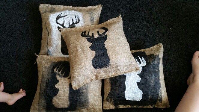 Stag head Hessian Cushions