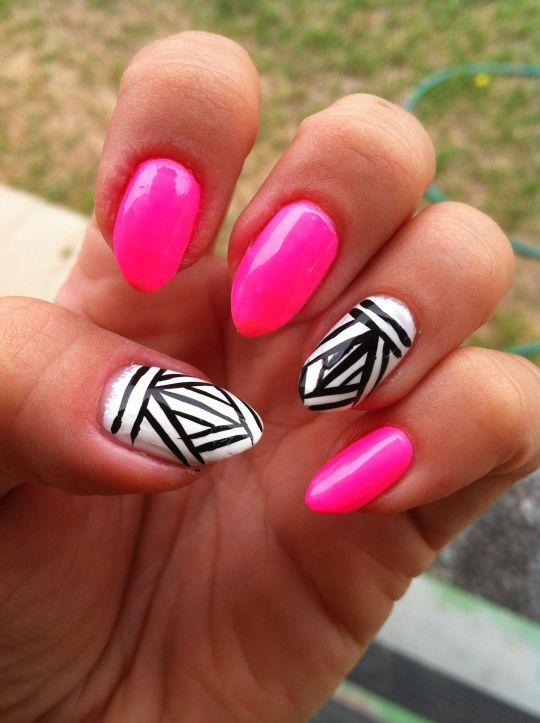 Neon Aztec Nail Art #nailart #leadingladymakeup