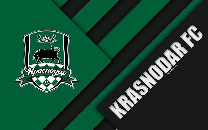 Download wallpapers Krasnodar FC, 4k, material design, green black abstraction, logo, Russian football club, Krasnodar, Russia, football, Russian Premier League