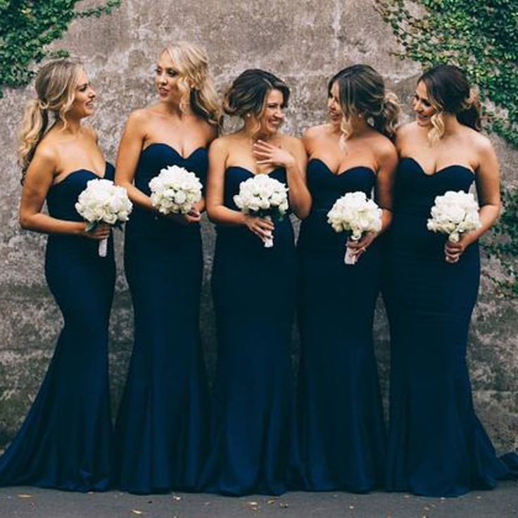 Elegant Sweetheart Sweep Train Dark Navy Mermaid Bridesmaid Dress                                                                                                                                                                                 More