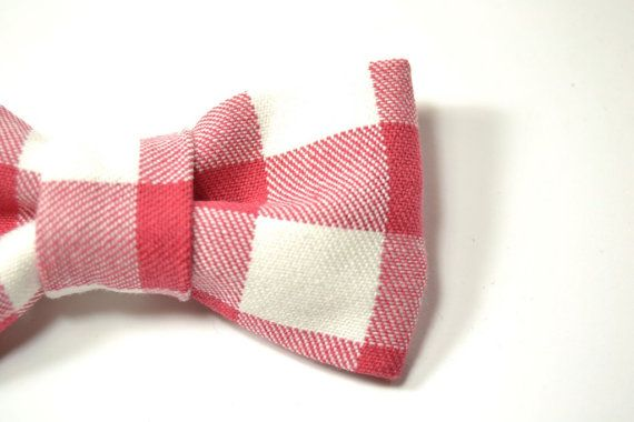 Mens Clip-On Bow Tie red and white gingham plaid by speaklouder