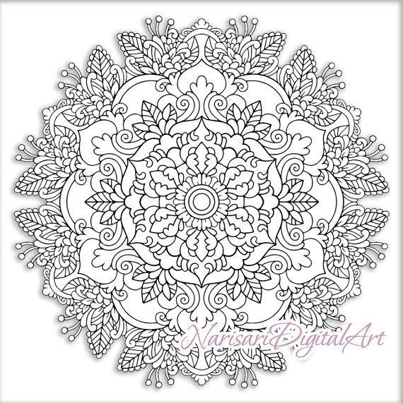 Zen Coloring Floral Mandala Adult Grown Up Book Page Printable PDF Instant Download 12