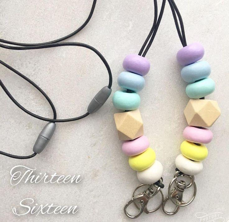 Fashion Lanyard Pastel Rainbow by thirteensixteen on Etsy