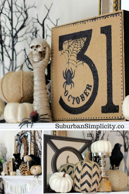 Pumpkins, skeletons and creepy spiders! A spooky good Halloween mantel to…