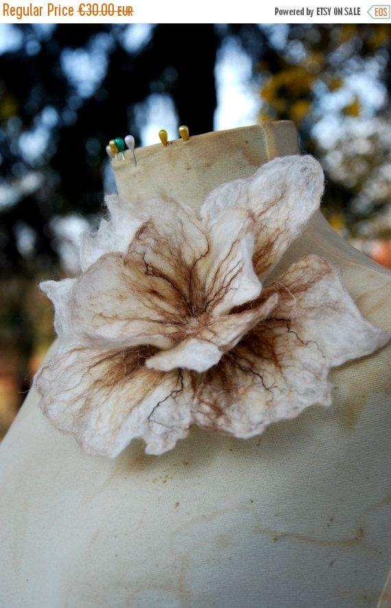 SALE Felted Wool Flower Brooch pin Felt Boho by MariArtFelting