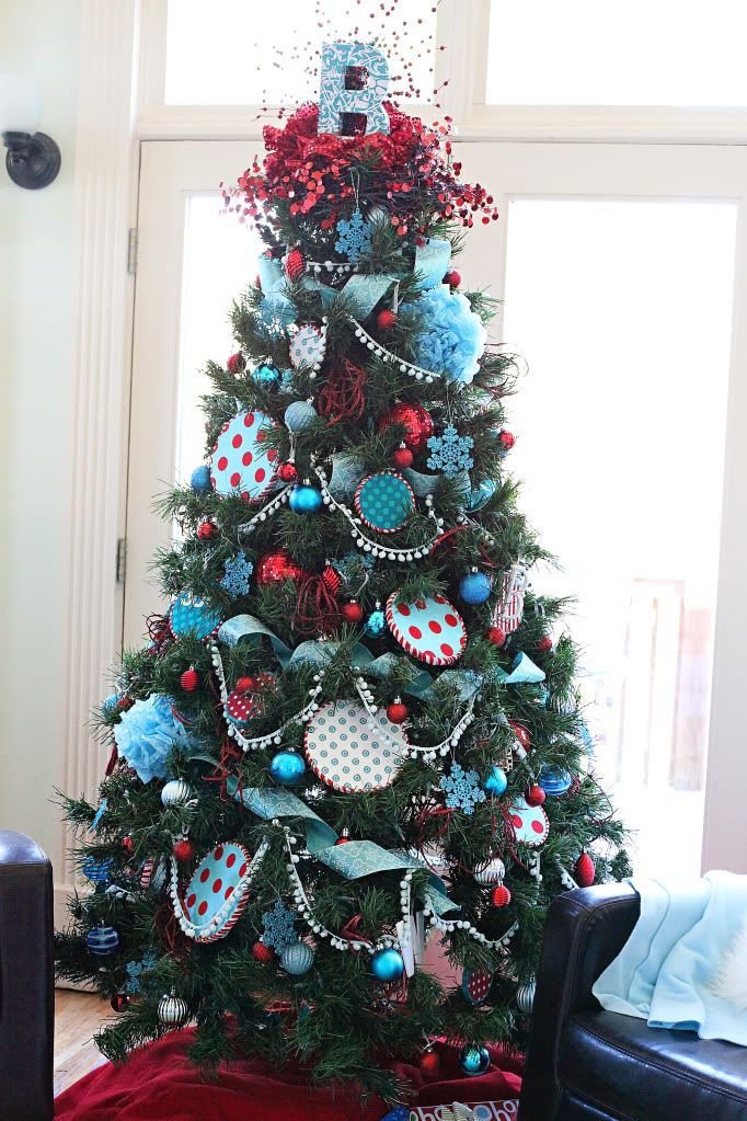 Seuss themed Christmas tree, colorful and fun. Great for a kids playroom or bedroom. Lots of items that could be DIY.: