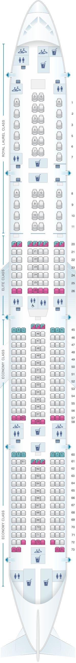 Seat Map EVA Air Boeing B777 300ER 333PAX