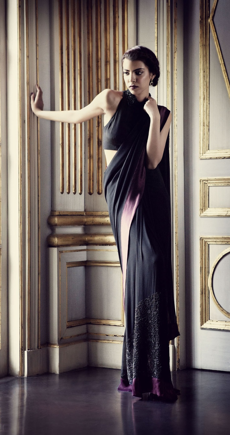 Black saree with maroon satin border by PERNIA QURESHI. Shop at https://www.perniaspopupshop.com/sweet-spot/pernia-qureshi-40