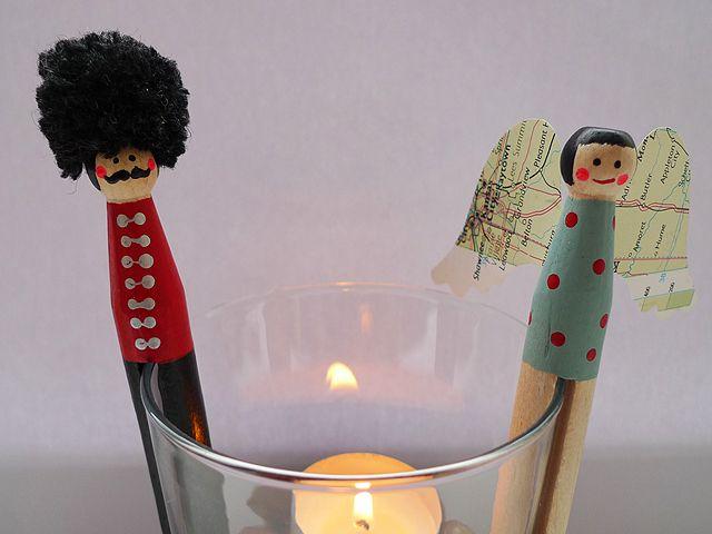 Weihnachtsfiguren - Wäscheklammer Soldat und Engel als 2er Set - ein…