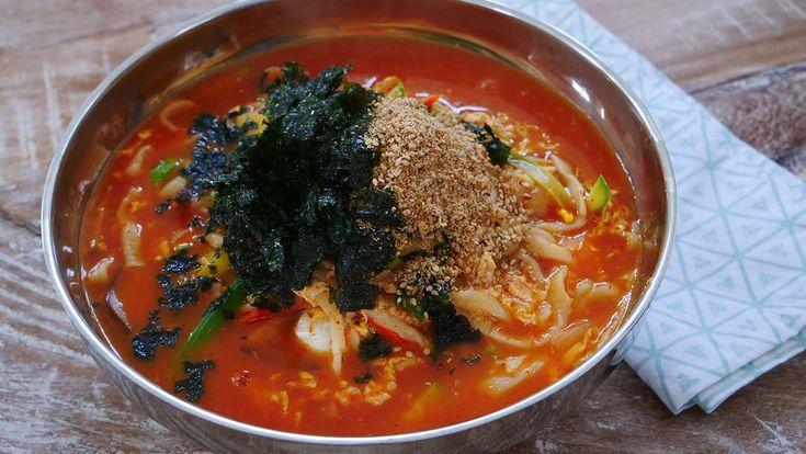 "The BEST Jang Kalguksu recipe with you!! ""Jang"" means ""sauce"" in Korean (in this case Gochujang, Korean chili pepper paste) ""Kalguksu"" means ""knife noodles"""