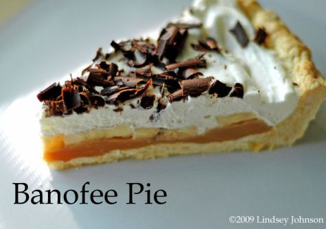 Banofee Pie. Stands for banana and toffee. It is so delicious and easy. On the website it say how to make the pie crust and cream but you can use a premade one and some cool whip. It's so easy my kids could do it.