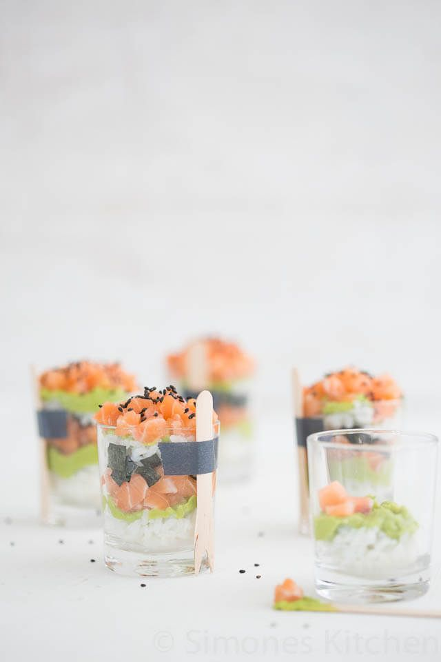 This small and delicious dish looks a bit like sushi but served in a pretty glass with salmon and avocado. Will work well for a christmas starter