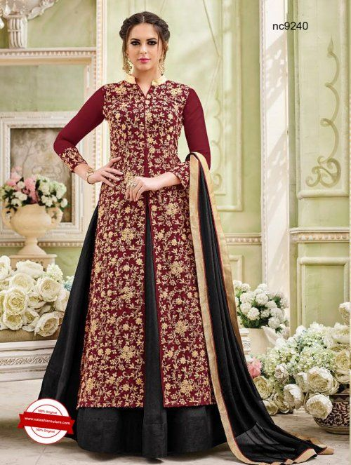 Black & Maroon Georgette Anarkali Suit | Buy salwar kameez  online shopping at www.natashacouture.com | ❤️ Call / WhatsApp / Viber : +91-9052526627 | Free Shipping in India | COD* | Worldwide Shipping | Authentic Quality Guaranteed ❤️