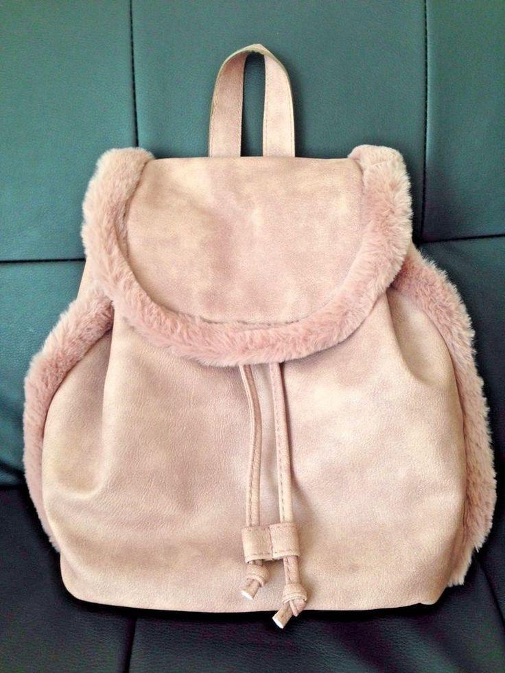 Primark Ladies Girls Dusty Pink Fur Rucksack Fashion Backpack Travel School Bag  | eBay
