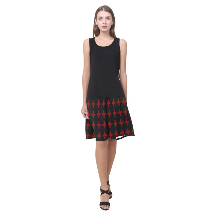 Crosses Black red pattern Punk Rock Sleeveless Splicing Shift Dress(Model D17) by Scar Design #dress #buydress #splicingdress #crosses #punkrock #punkdress #punkrockstyle #fashion #womenfashion #woman