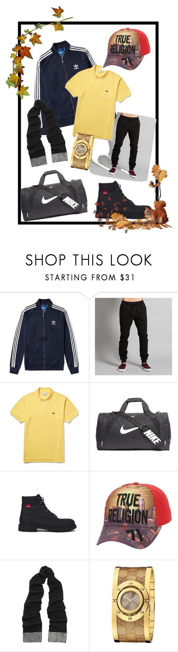 """""""It's lit"""" by fashionablenzm ❤ liked on Polyvore featuring adidas, Adam Levine, Lacoste, NIKE, Timberland, True Religion, MICHAEL Michael Kors and Gucci"""