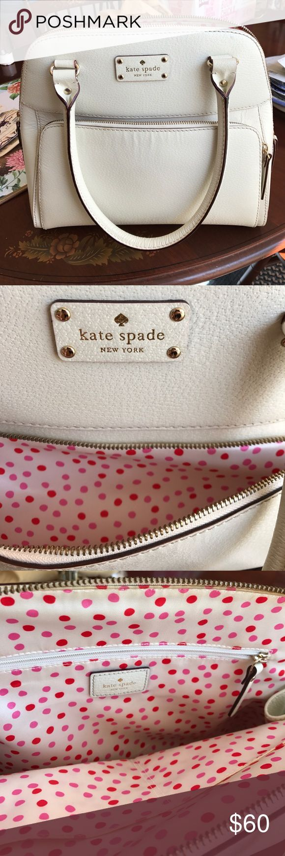Kate Spade Bowler Purse Satchel Like new condition with cute dot lining! Interior zip pocket and exterior pocket- white leather kate spade Bags