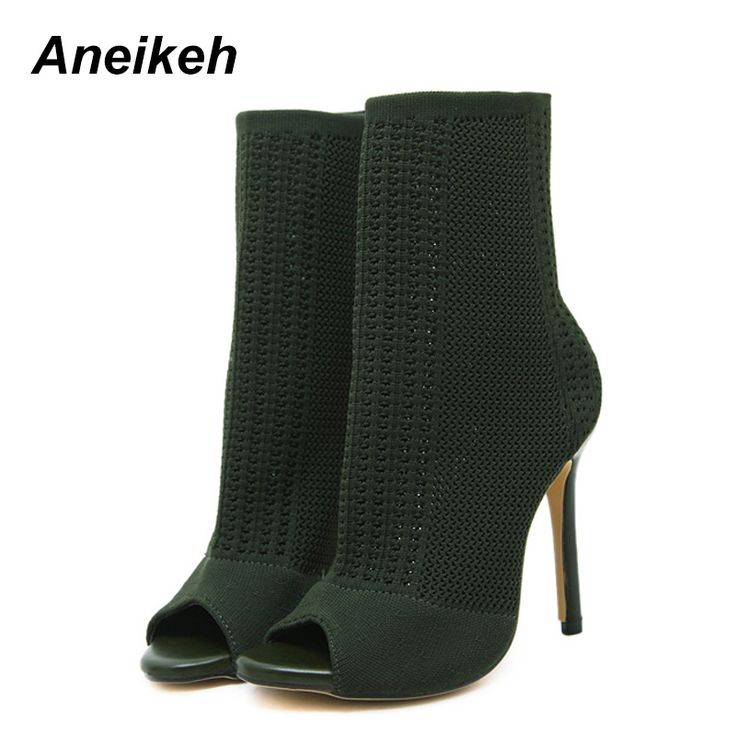 Cheap Ankle Boots, Buy Directly from China Suppliers:Aneikeh Slip On Sandals Stretch Designer Shoes Women 2017 Knit Booties Ankle Elastic Chunky Boots Peep Toe Sock Green Casual New