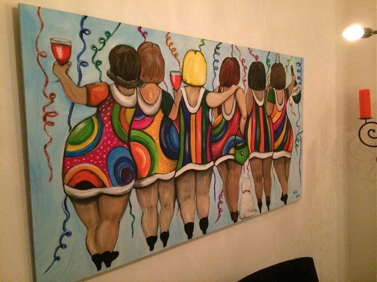 ge-WOON-leuk, schilderij acryl verf feest