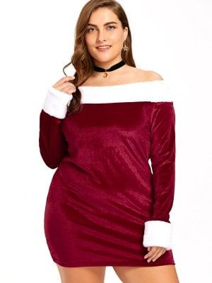1be87884f19 Christmas Plus Size Off The Shoulder Velvet Dress - Red And White ...