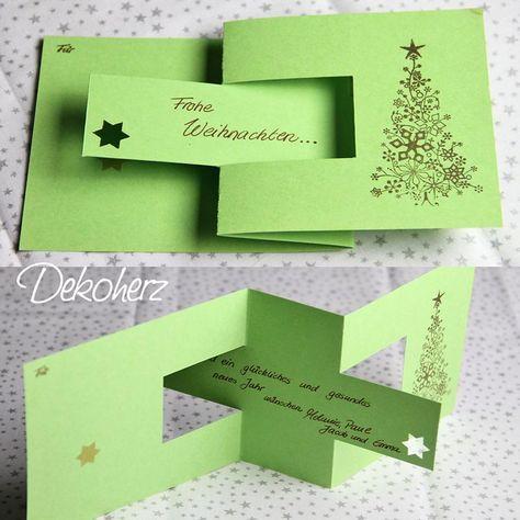 Gefaltete Weihnachtskarte mit versteckter Botschaft.