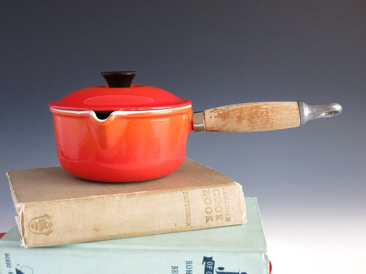 Le Creuset #14 Enameled Cast Iron Pot with Spout and Lid - Creuset France 14 Pot - Flame Orange Cast Iron Pot & Lid - French Cast Iron Pot by EightMileVintage on Etsy