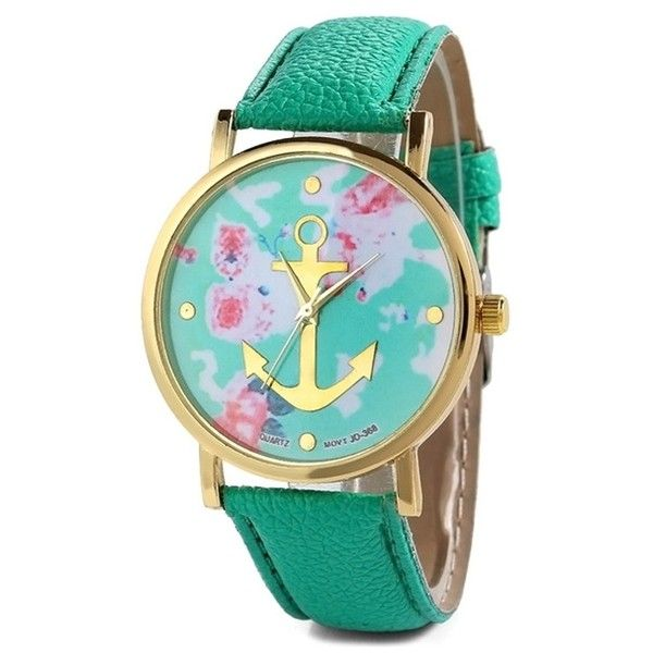 Anchor Design Printed Watch ($4.84) ❤ liked on Polyvore featuring jewelry, watches, accessories and anchor jewelry