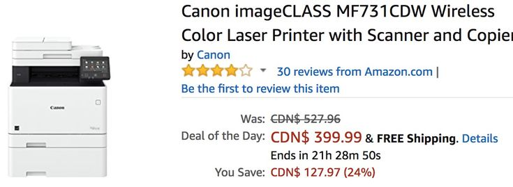 Amazon Canada Deals Of The Day: Save 24%  Canon Wireless Color Laser Printer with Scanner and Copier https://www.lavahotdeals.com/ca/cheap/amazon-canada-deals-day-save-24-canon-wireless/309811?utm_source=pinterest&utm_medium=rss&utm_campaign=at_lavahotdeals&utm_term=hottest_12