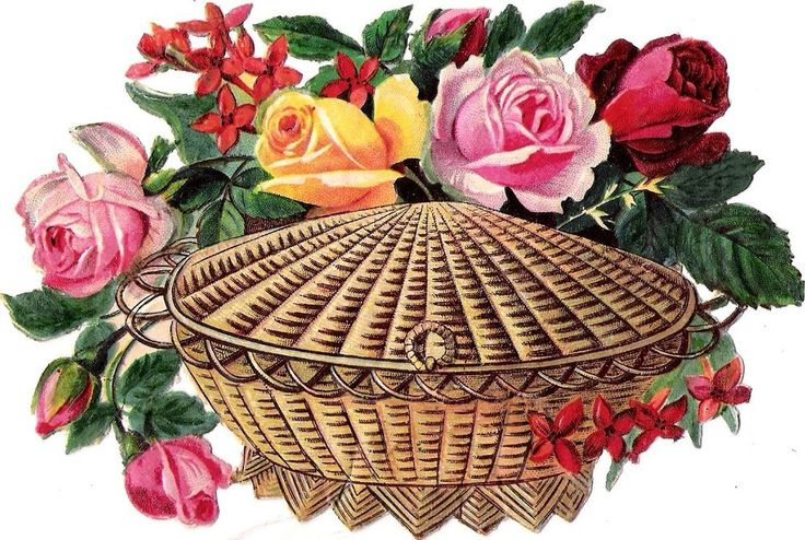 Oblaten Glanzbild scrap die cut  chromo Blume flower  14 cm  Kiste Korb basket