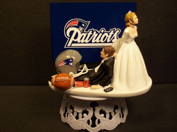 PATRIOTS NEW ENGLAND football wedding cake topper by mikeg1968, $69.99