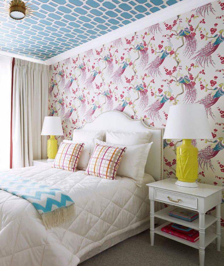 Kristy Lee Interiors | Adore Magazine | Two Inspire Design | Wallpaper | Wallpapered Ceiling | Yellow Lamps | Headboard