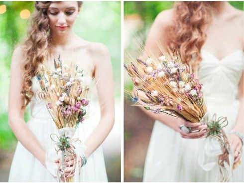 wheat wedding bouquet ... For a Bouquet Guide & Wedding ideas for brides, grooms, parents & planners ... https://itunes.apple.com/us/app/the-gold-wedding-planner/id498112599?ls=1=8 ♥  http://pinterest.com/groomsandbrides/boards/ ♥
