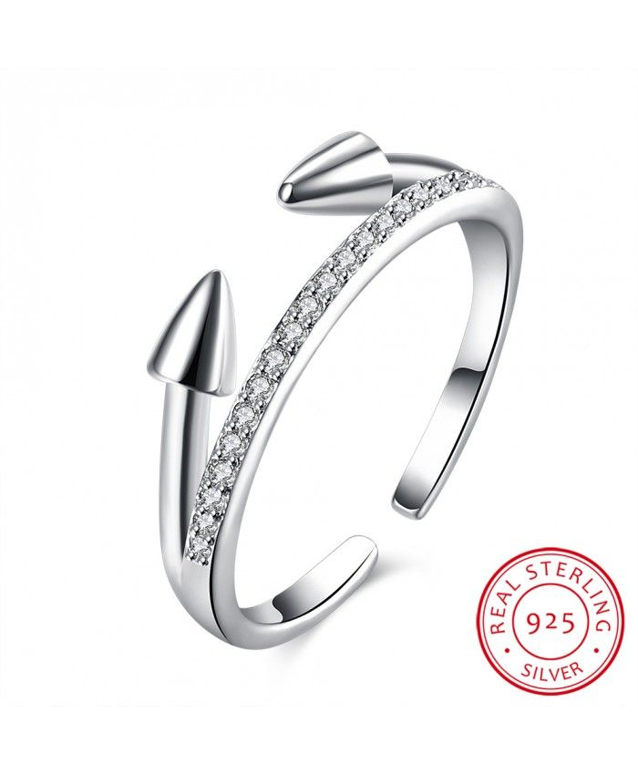 Ouruora 925 Sterling Silver Opposite Missile Clear CZ Open Ring