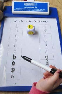"""This b/d reversals game will help if your child is struggling with this concept. Roll a dice that has d and b stickers on it and then have her """"graph"""" her rolls by tracing the correct letter"""