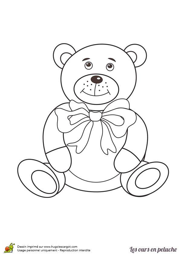 Coloriage d un ours en peluche avec son n ud en ruban - Dessin d un ours ...