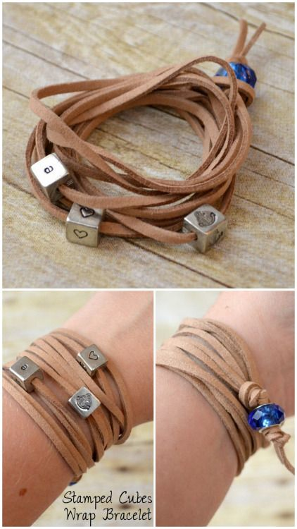 DIY Leather Wrap Bracelet Tutorial from One Artsy Mama.I like this DIY Leather Bracelet because it has a decorative large bead closure. There is also a tutorial on how to stamp cube beads - which are so on trend right now.