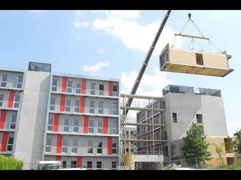 Résidence étudiante modules industrialisés bois Dhomino R+4 - YouTube | 5-story modular, France