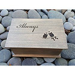 Customized jewelry box with Always and love owls engraved on top, with your choice of color and song. Great gift for anniversaries or weddings.