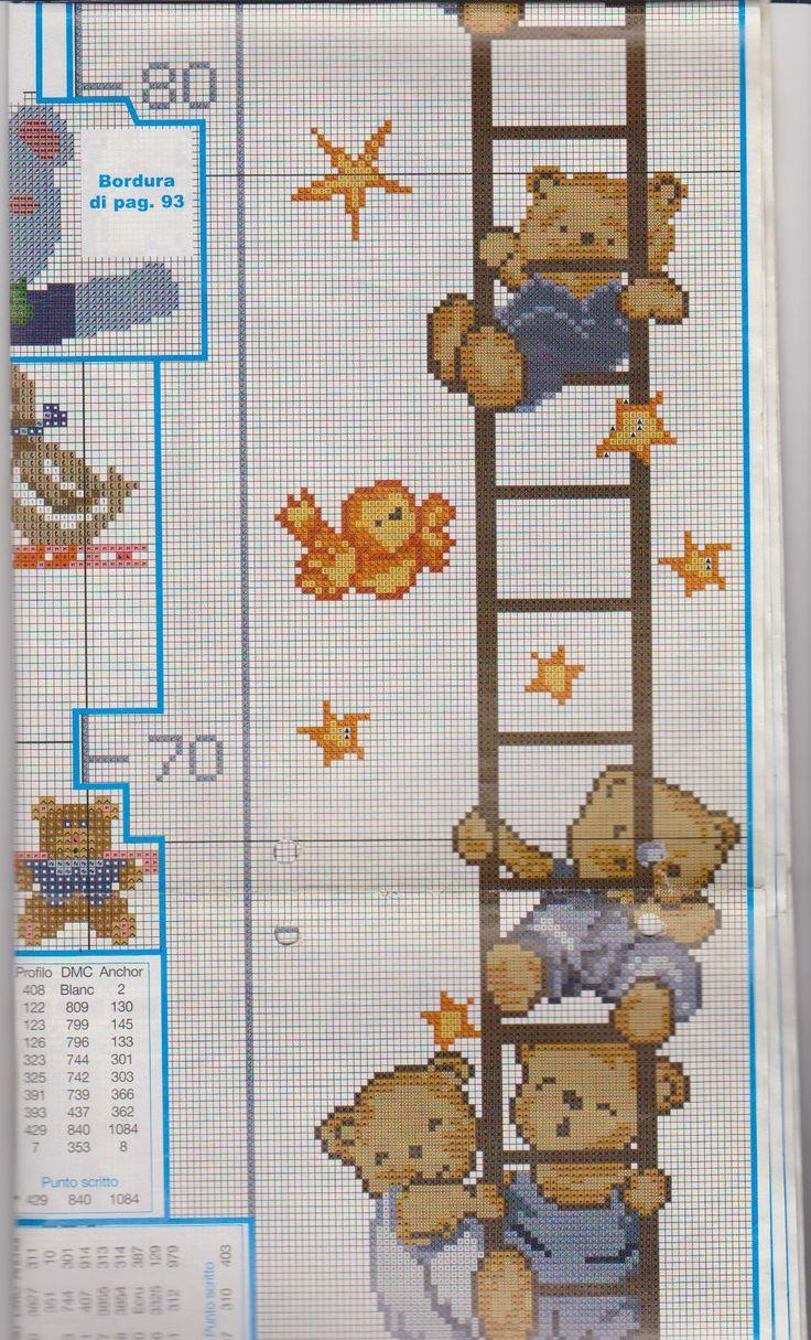 Metro crescita orsetto su scala 3 4 punto croce metri for Iniziali punto croce bambini